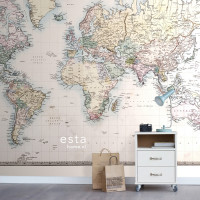 Estahome Vintage Map Of The World Tapete